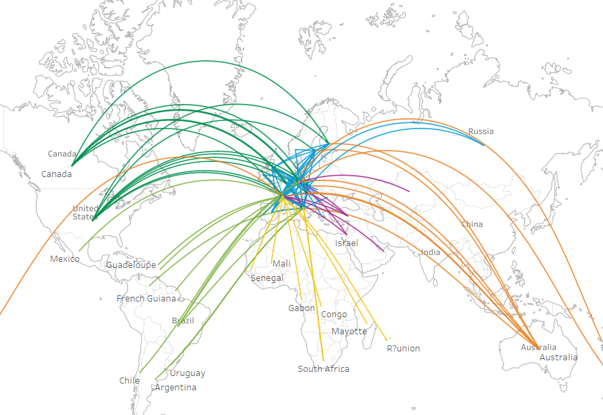 Draw Curved Lines On A Map Dataviz Love